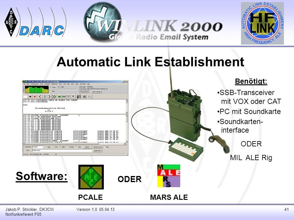 Automatic Link Establishment Software: Jakob P. Strickler, DK3CW Notfunkreferent F05 Version 1.0 05.04.1341 PCALEMARS ALE ODER Benötigt: SSB-Transceiv