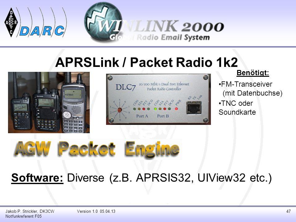 APRSLink / Packet Radio 1k2 Software: Diverse (z.B. APRSIS32, UIView32 etc.) Jakob P. Strickler, DK3CW Notfunkreferent F05 Version 1.0 05.04.1347 Benö