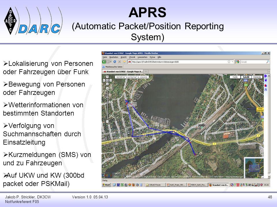 Jakob P. Strickler, DK3CW Notfunkreferent F05 Version 1.0 05.04.1348 APRS (Automatic Packet/Position Reporting System) Lokalisierung von Personen oder