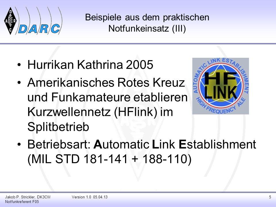 Beispiele aus dem praktischen Notfunkeinsatz (III) Hurrikan Kathrina 2005 Amerikanisches Rotes Kreuz und Funkamateure etablieren Kurzwellennetz (HFlin