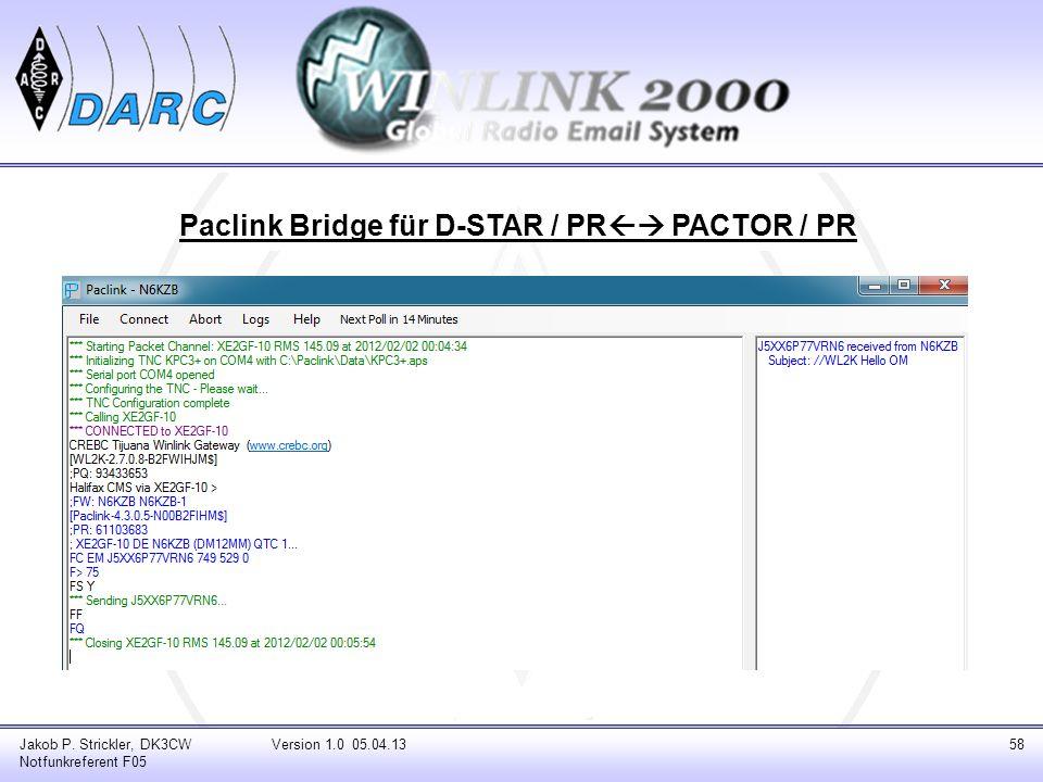 Jakob P. Strickler, DK3CW Notfunkreferent F05 Version 1.0 05.04.1358 Paclink Bridge für D-STAR / PR PACTOR / PR