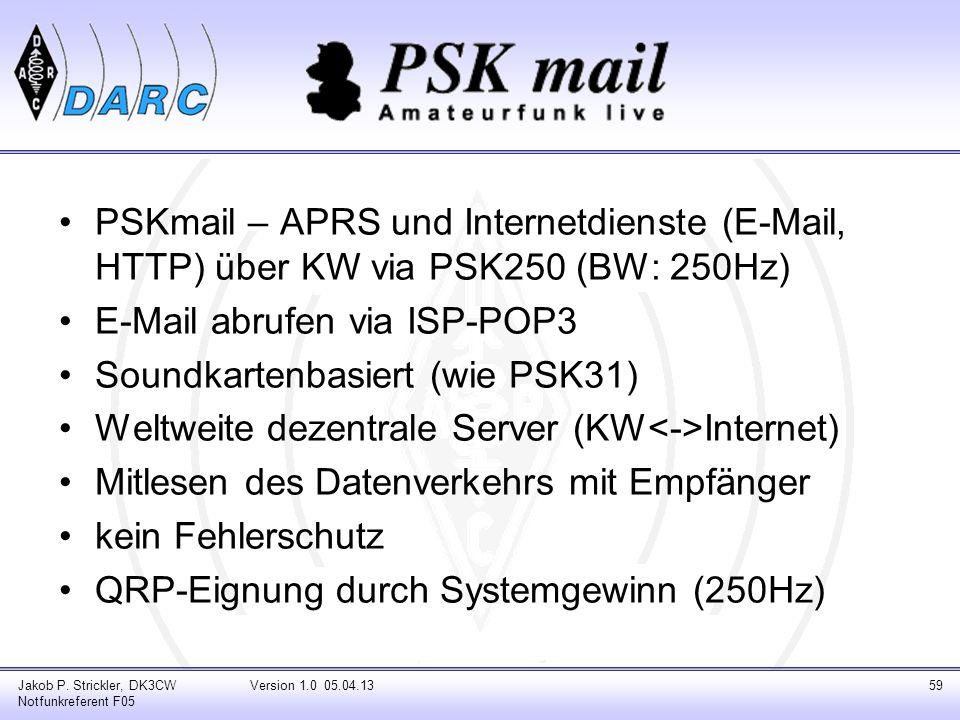 PSKmail – APRS und Internetdienste (E-Mail, HTTP) über KW via PSK250 (BW: 250Hz) E-Mail abrufen via ISP-POP3 Soundkartenbasiert (wie PSK31) Weltweite