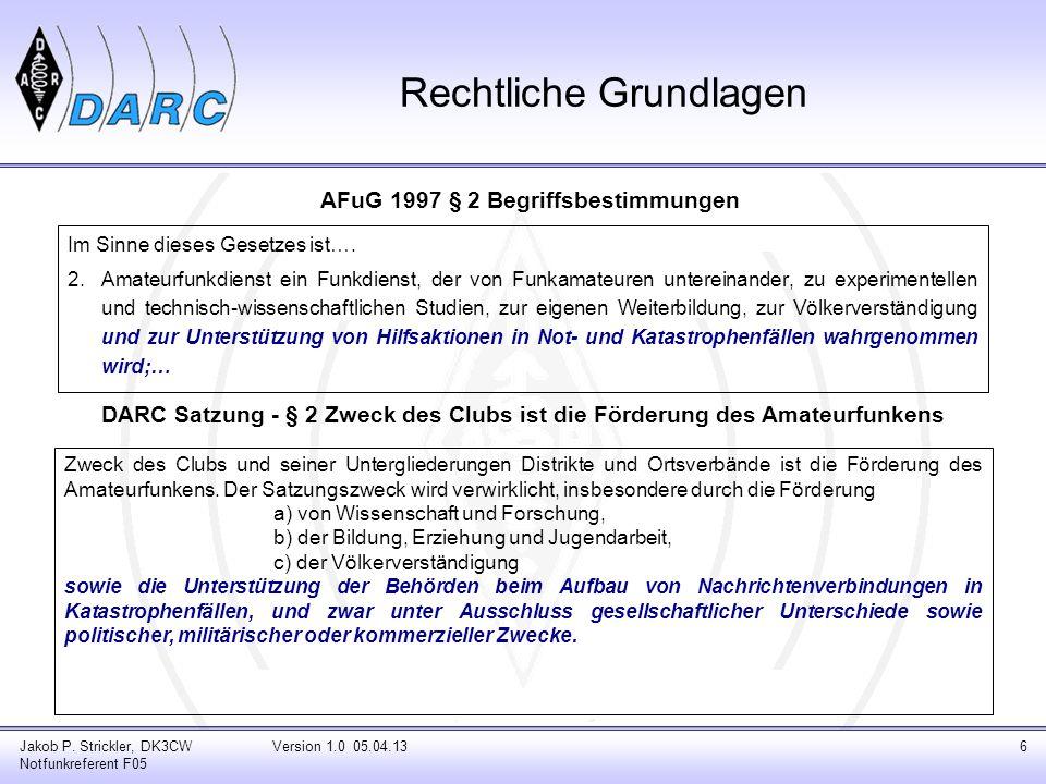 Jakob P. Strickler, DK3CW Notfunkreferent F05 Version 1.0 05.04.136 Rechtliche Grundlagen Im Sinne dieses Gesetzes ist…. 2.Amateurfunkdienst ein Funkd