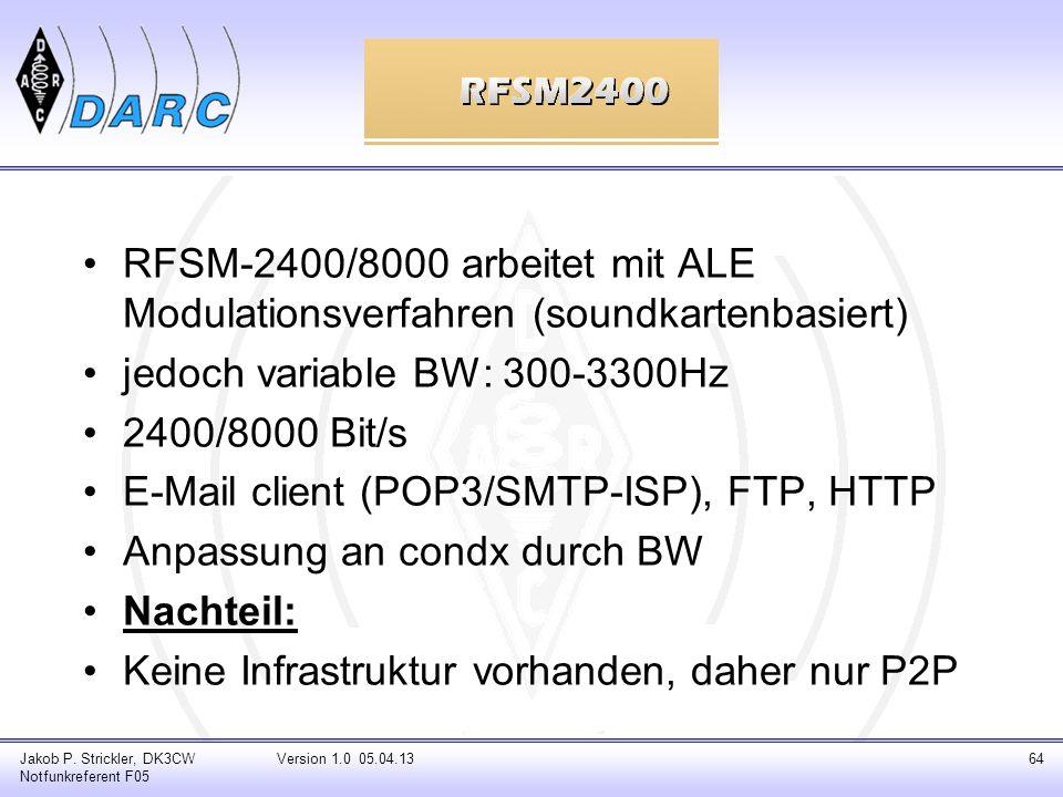 Jakob P. Strickler, DK3CW Notfunkreferent F05 Version 1.0 05.04.1364 RFSM-2400/8000 arbeitet mit ALE Modulationsverfahren (soundkartenbasiert) jedoch