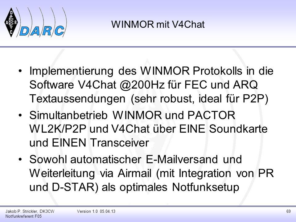 Jakob P. Strickler, DK3CW Notfunkreferent F05 Version 1.0 05.04.1369 WINMOR mit V4Chat Implementierung des WINMOR Protokolls in die Software V4Chat @2