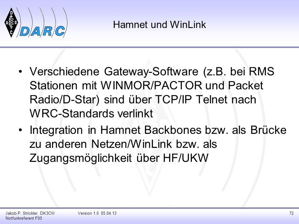 Jakob P. Strickler, DK3CW Notfunkreferent F05 Version 1.0 05.04.1372 Hamnet und WinLink Verschiedene Gateway-Software (z.B. bei RMS Stationen mit WINM