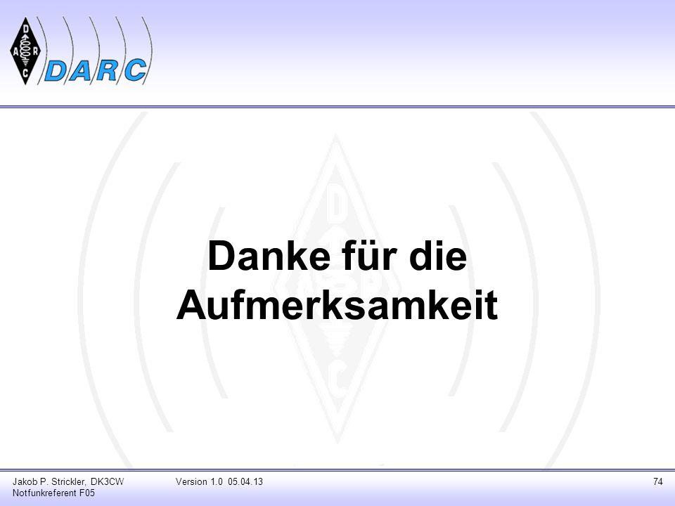 Danke für die Aufmerksamkeit Jakob P. Strickler, DK3CW Notfunkreferent F05 Version 1.0 05.04.1374