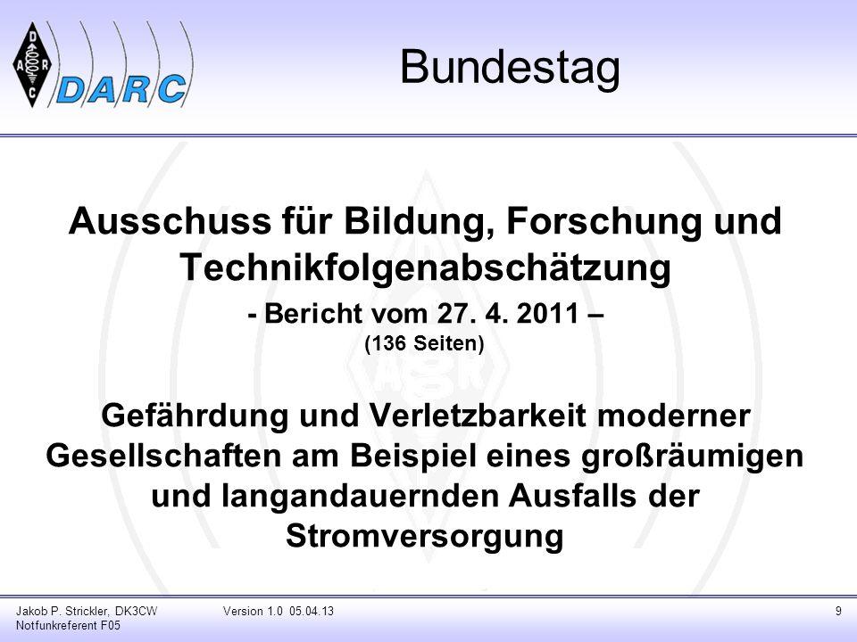 Bundestag Jakob P. Strickler, DK3CW Notfunkreferent F05 Ausschuss für Bildung, Forschung und Technikfolgenabschätzung - Bericht vom 27. 4. 2011 – (136