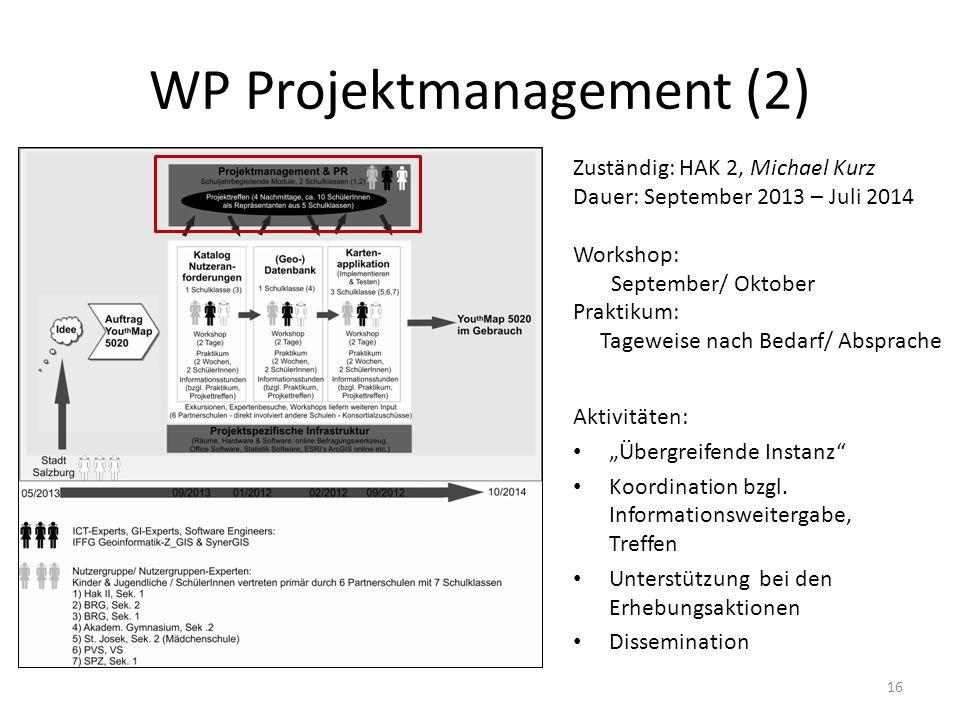 WP Projektmanagement (2) 16 Zuständig: HAK 2, Michael Kurz Dauer: September 2013 – Juli 2014 Workshop: September/ Oktober Praktikum: Tageweise nach Be