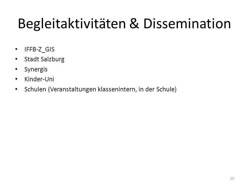 Begleitaktivitäten & Dissemination IFFB-Z_GIS Stadt Salzburg Synergis Kinder-Uni Schulen (Veranstaltungen klassenintern, in der Schule) 20