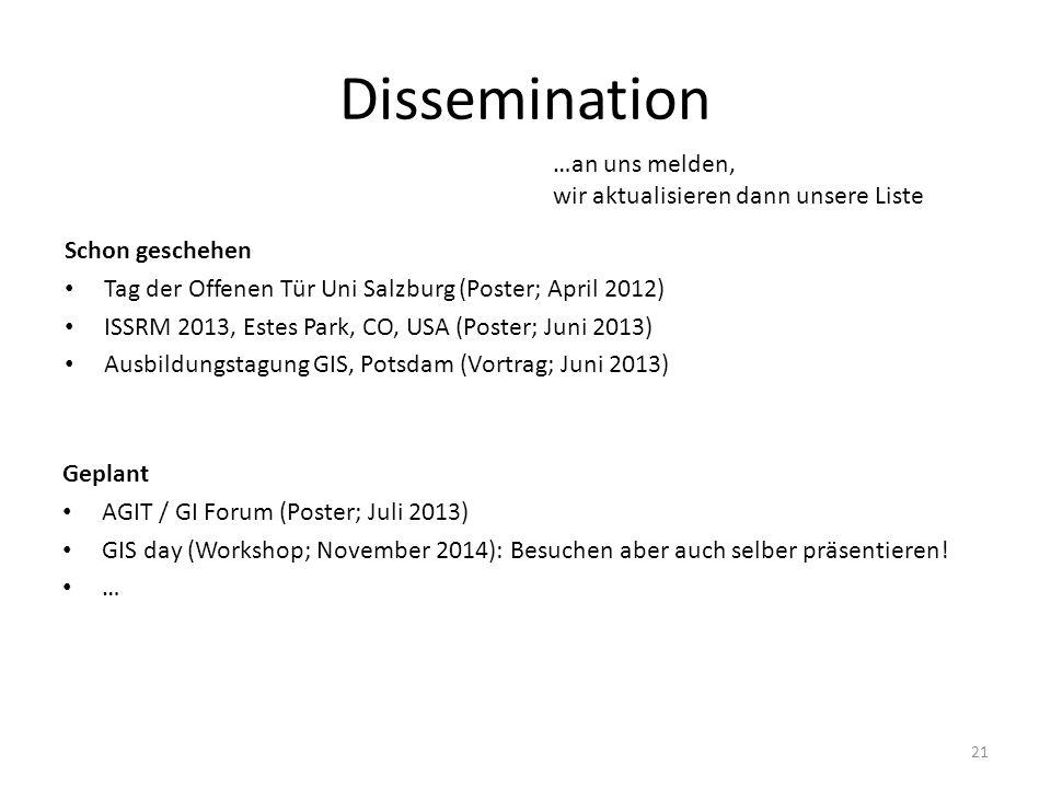 Dissemination Schon geschehen Tag der Offenen Tür Uni Salzburg (Poster; April 2012) ISSRM 2013, Estes Park, CO, USA (Poster; Juni 2013) Ausbildungstag