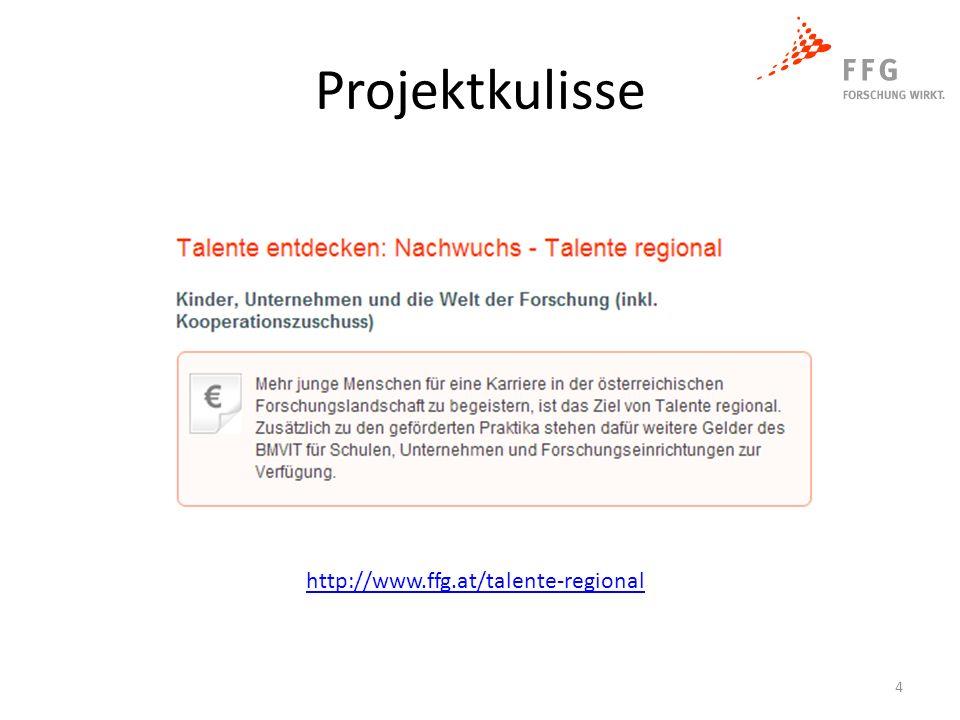 Projektkulisse http://www.ffg.at/talente-regional 4