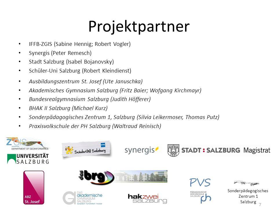 Projektpartner IFFB-ZGIS (Sabine Hennig; Robert Vogler) Synergis (Peter Remesch) Stadt Salzburg (Isabel Bojanovsky) Schüler-Uni Salzburg (Robert Klein