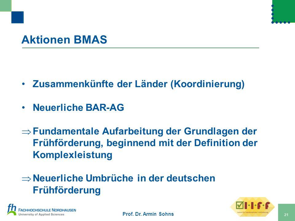 Aktionen BMAS Zusammenkünfte der Länder (Koordinierung) Neuerliche BAR-AG Fundamentale Aufarbeitung der Grundlagen der Frühförderung, beginnend mit de