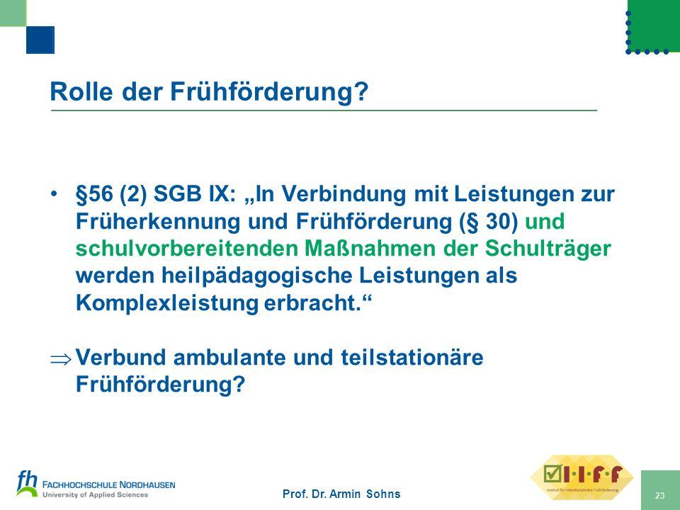 Rolle der Frühförderung? §56 (2) SGB IX: In Verbindung mit Leistungen zur Früherkennung und Frühförderung (§ 30) und schulvorbereitenden Maßnahmen der