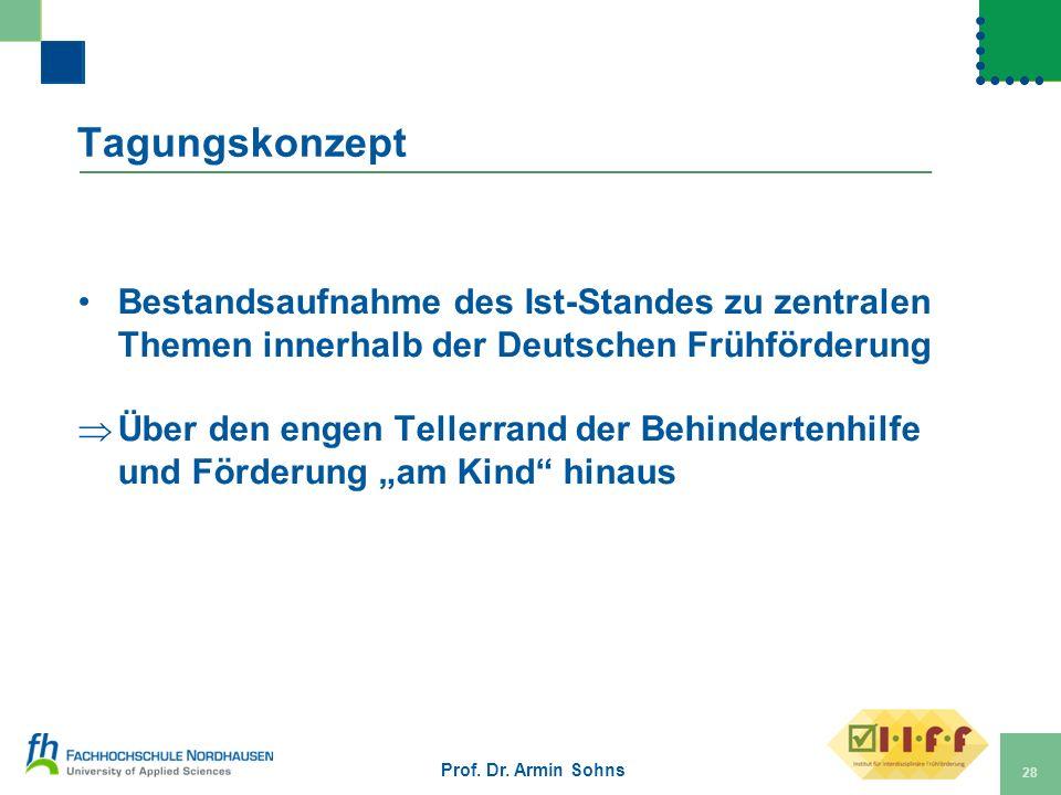 Tagungskonzept Bestandsaufnahme des Ist-Standes zu zentralen Themen innerhalb der Deutschen Frühförderung Über den engen Tellerrand der Behindertenhil
