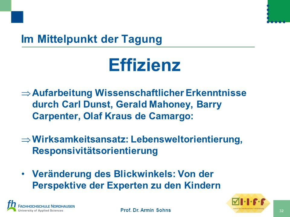 Im Mittelpunkt der Tagung Effizienz Aufarbeitung Wissenschaftlicher Erkenntnisse durch Carl Dunst, Gerald Mahoney, Barry Carpenter, Olaf Kraus de Cama