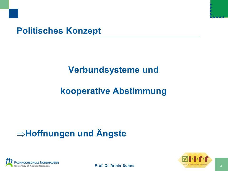 Politisches Konzept Verbundsysteme und kooperative Abstimmung Hoffnungen und Ängste Prof. Dr. Armin Sohns 4