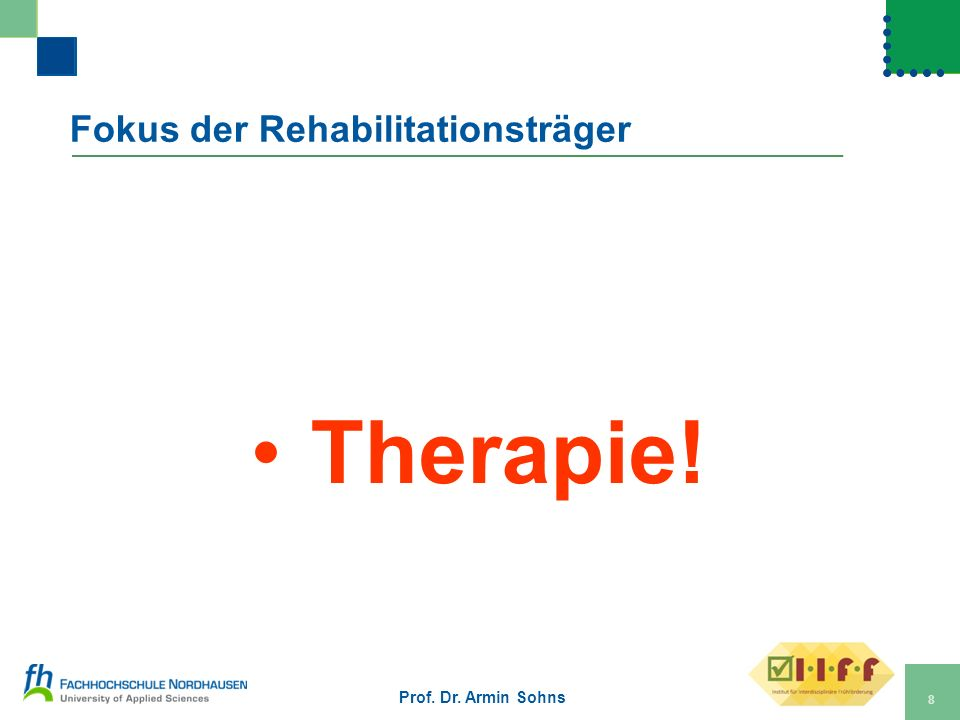Fokus der Rehabilitationsträger Therapie! Prof. Dr. Armin Sohns 8