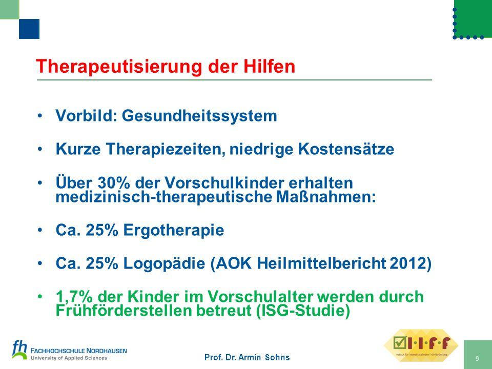 Therapeutisierung der Hilfen Vorbild: Gesundheitssystem Kurze Therapiezeiten, niedrige Kostensätze Über 30% der Vorschulkinder erhalten medizinisch-th