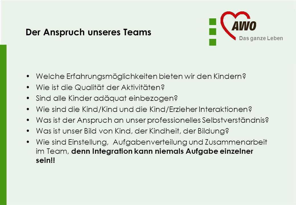 Das ganze Leben Der Anspruch unseres Teams Welche Erfahrungsmöglichkeiten bieten wir den Kindern? Wie ist die Qualität der Aktivitäten? Sind alle Kind