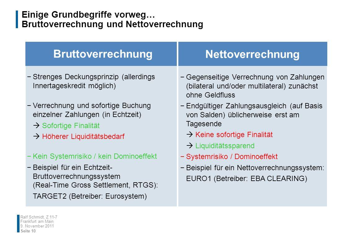 9. November 2011 Seite 10 Ralf Schmidt, Z 11-7 Frankfurt am Main Bruttoverrechnung Nettoverrechnung Strenges Deckungsprinzip (allerdings Innertageskre