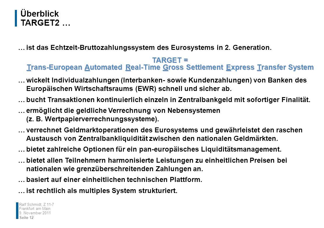 Überblick TARGET2 … …ist das Echtzeit-Bruttozahlungssystem des Eurosystems in 2. Generation. …wickelt Individualzahlungen (Interbanken- sowie Kundenza