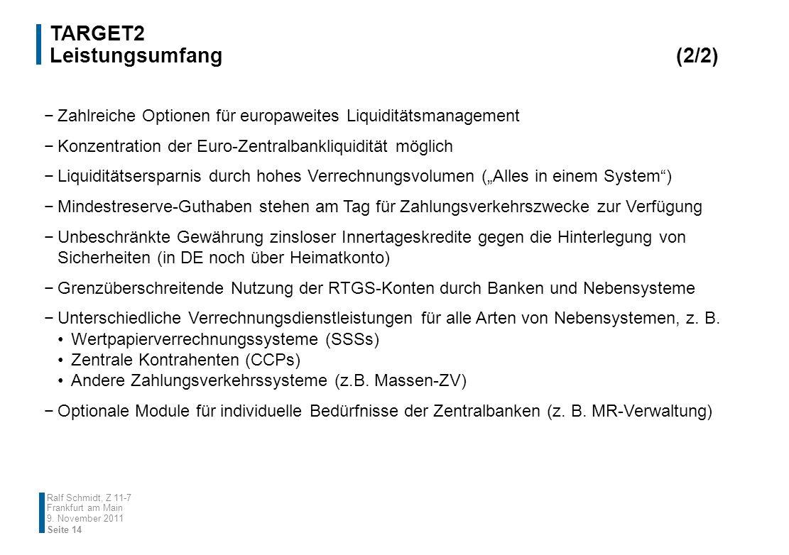 9. November 2011 Ralf Schmidt, Z 11-7 Frankfurt am Main Zahlreiche Optionen für europaweites Liquiditätsmanagement Konzentration der Euro-Zentralbankl