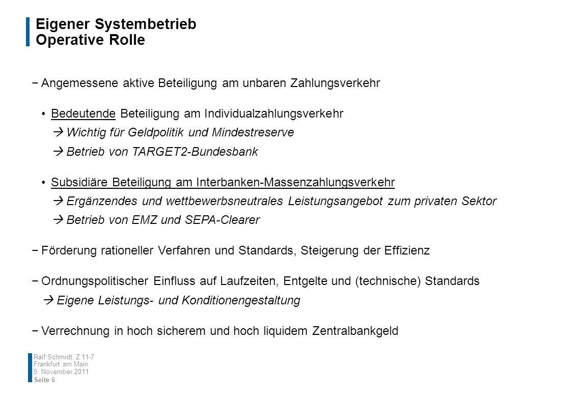TARGET2 Technischer Betrieb Ralf Schmidt, Z 11-7 Frankfurt am Main SITE B SITE D Synchronous remote copy P P S S REGION 1 REGION 2 Asynchronous remote copy Live Test & Training (T&T) Periodic Region Rotation SITE ASITE C Hot back-up Seite 17 9.
