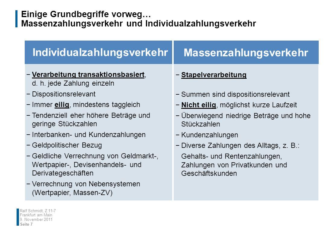 Einige Grundbegriffe vorweg… Massenzahlungsverkehr und Individualzahlungsverkehr 9. November 2011 Seite 7 Ralf Schmidt, Z 11-7 Frankfurt am Main Indiv