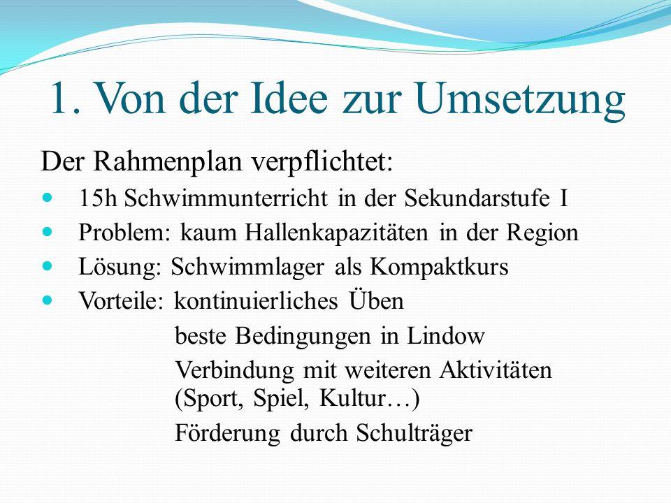 Gliederung 1. Von der Idee zur Umsetzung 2. Allgemeines 3. Sport- und Bildungszentrum Lindow 4. Wochenplan 5. Inhalte der Schwimmausbildung 6. Bewertu