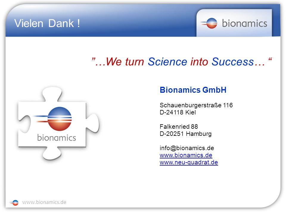 NEU 2 www.neu-quadrat.de www.bionamics.de Vielen Dank ! …We turn Science into Success… Bionamics GmbH Schauenburgerstraße 116 D-24118 Kiel Falkenried
