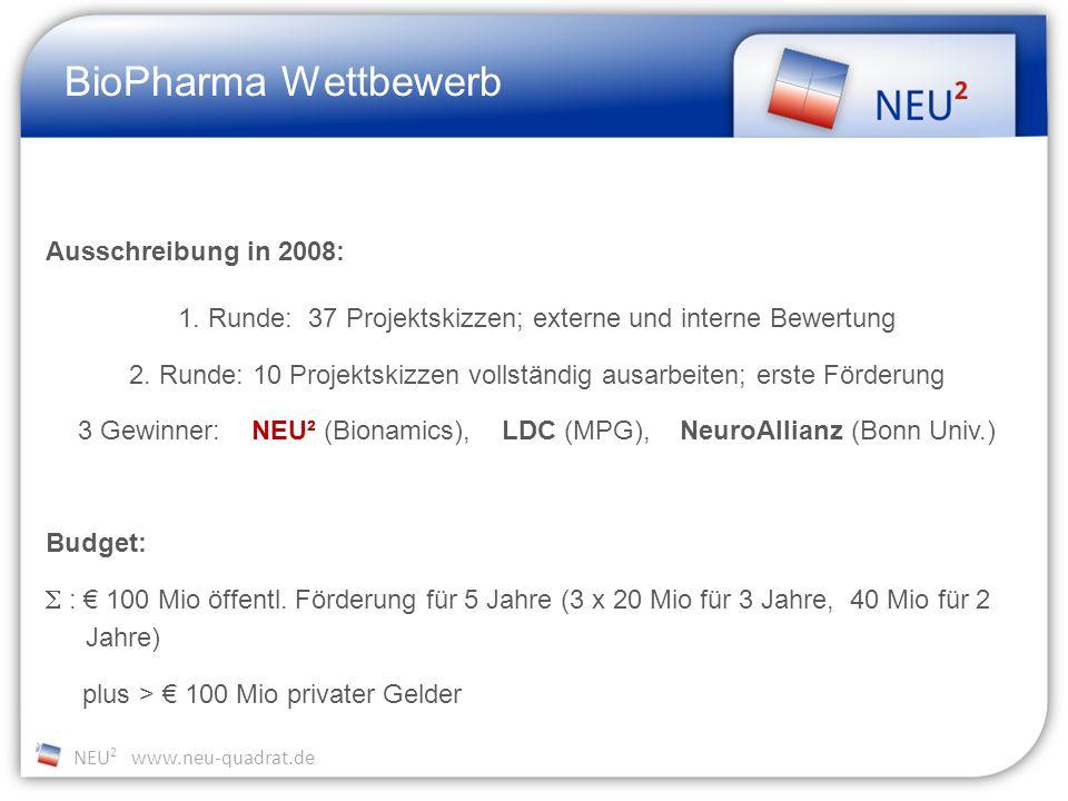 NEU 2 www.neu-quadrat.de BioPharma Wettbewerb Ausschreibung in 2008: 1.
