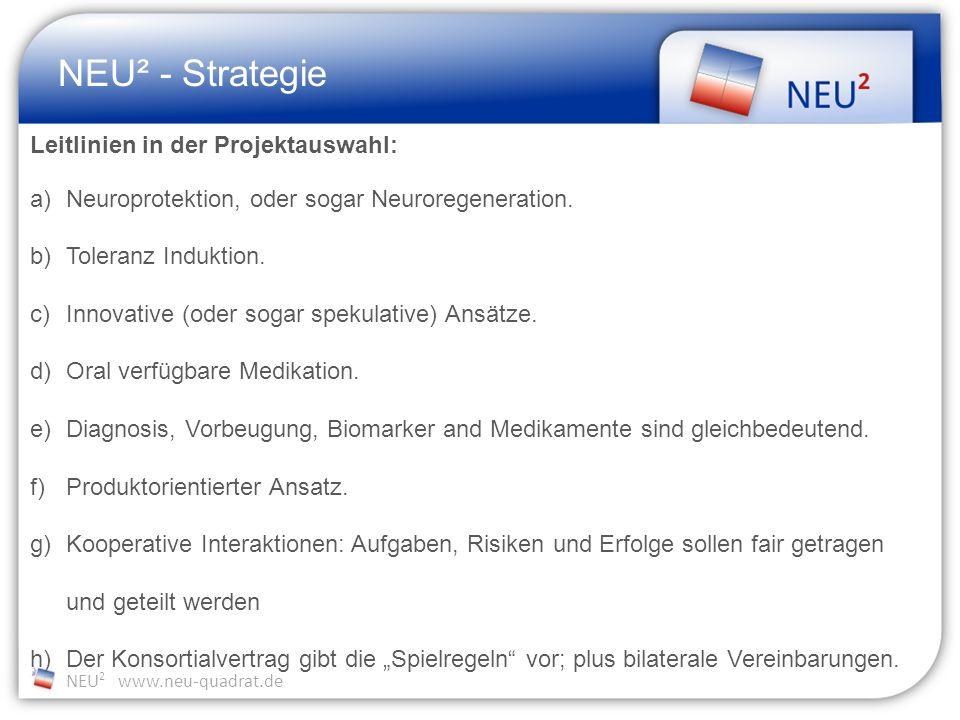 NEU 2 www.neu-quadrat.de NEU² - Strategie Leitlinien in der Projektauswahl: a)Neuroprotektion, oder sogar Neuroregeneration.