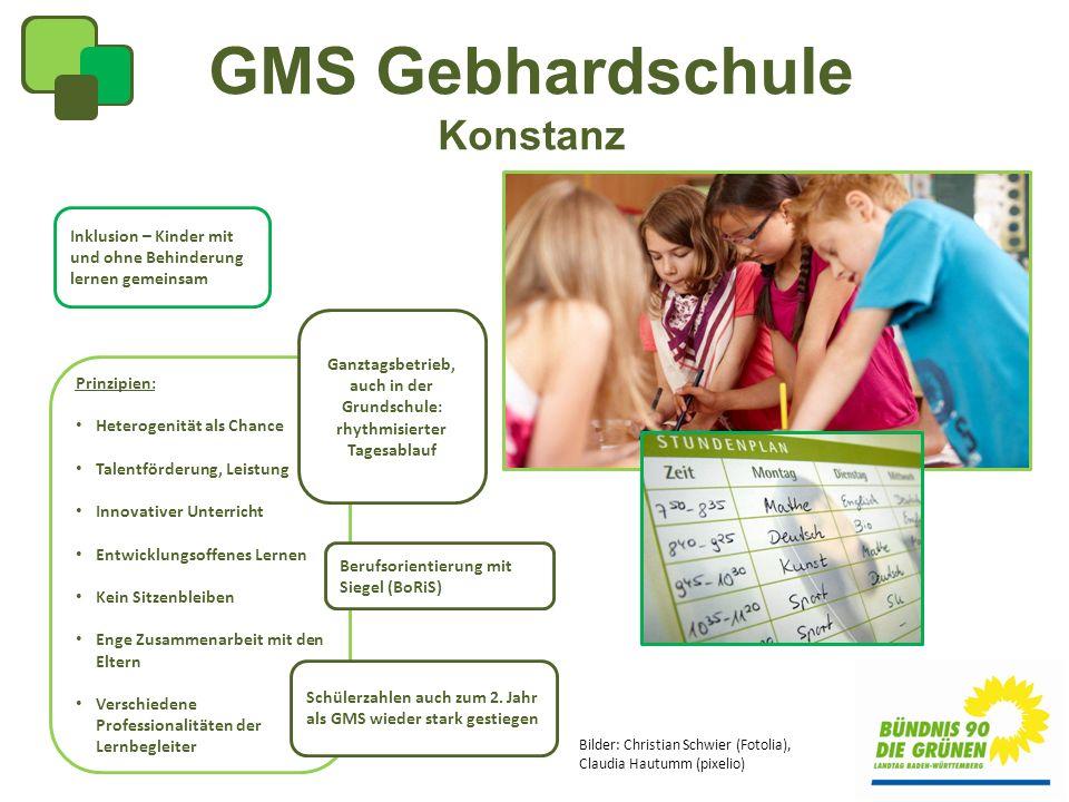 GMS Gebhardschule Konstanz Inklusion – Kinder mit und ohne Behinderung lernen gemeinsam Prinzipien: Heterogenität als Chance Talentförderung, Leistung