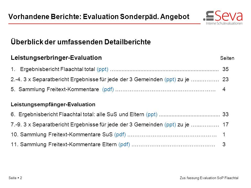 Seite 2Zus.fassung Evaluation SoP Flaachtal Vorhandene Berichte: Evaluation Sonderpäd. Angebot Überblick der umfassenden Detailberichte Leistungserbri