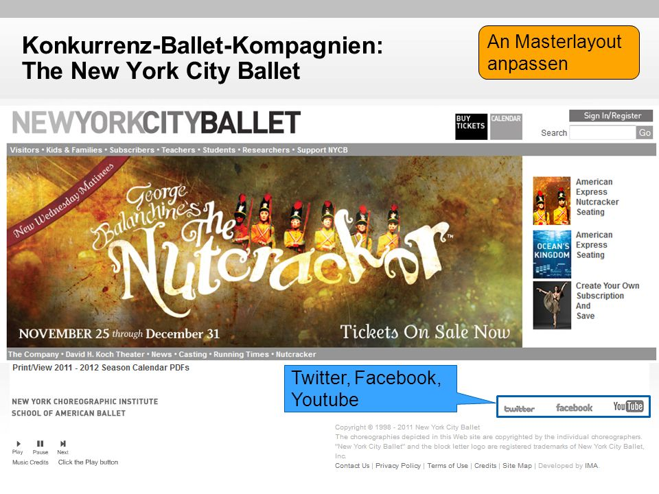 Konkurrenz-Ballet-Kompagnien: The New York City Ballet Twitter, Facebook, Youtube An Masterlayout anpassen