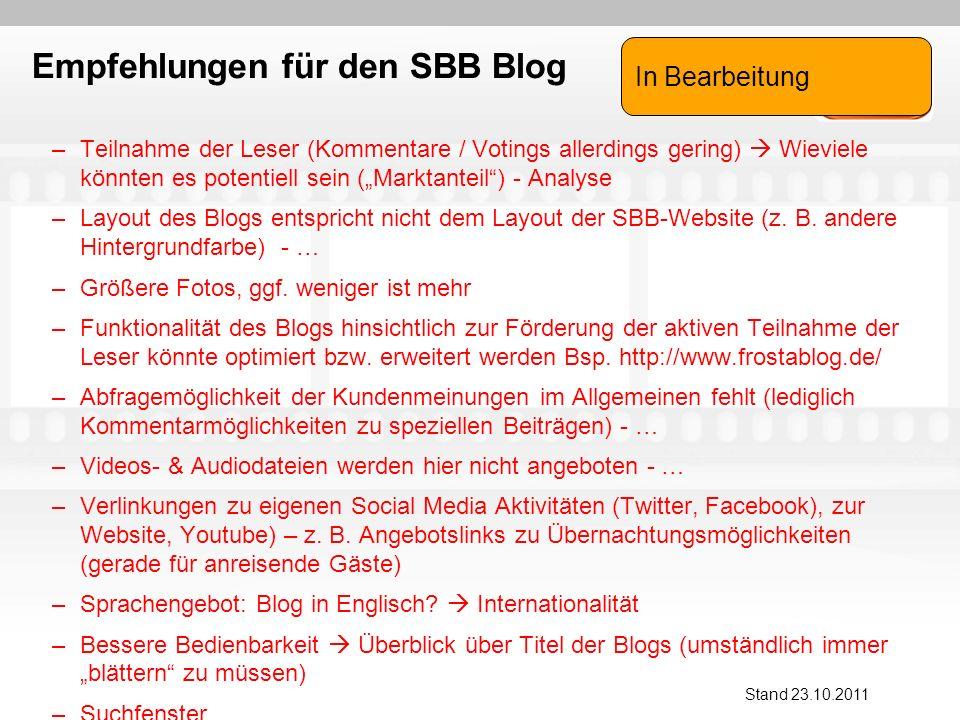 Empfehlungen für den SBB Blog –Teilnahme der Leser (Kommentare / Votings allerdings gering) Wieviele könnten es potentiell sein (Marktanteil) - Analyse –Layout des Blogs entspricht nicht dem Layout der SBB-Website (z.