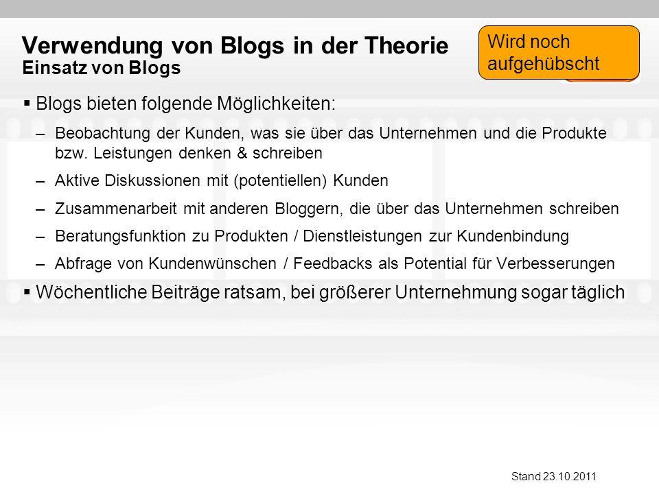 Verwendung von Blogs in der Theorie Einsatz von Blogs Blogs bieten folgende Möglichkeiten: –Beobachtung der Kunden, was sie über das Unternehmen und die Produkte bzw.