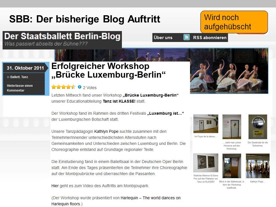 SBB: Der bisherige Blog Auftritt Wird noch aufgehübscht