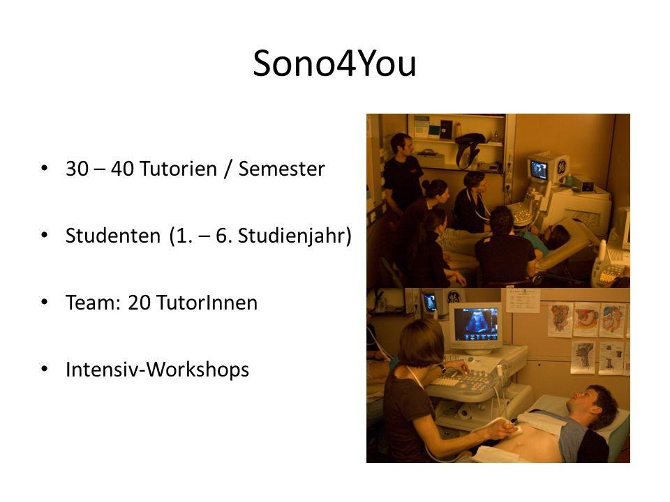 Sono4You 30 – 40 Tutorien / Semester Studenten (1. – 6. Studienjahr) Team: 20 TutorInnen Intensiv-Workshops