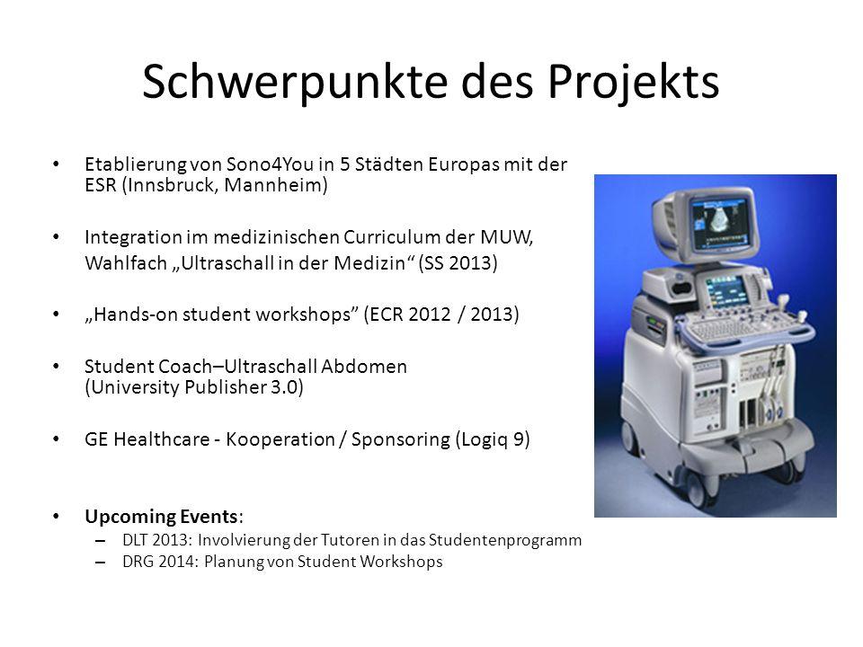 Schwerpunkte des Projekts Etablierung von Sono4You in 5 Städten Europas mit der ESR (Innsbruck, Mannheim) Integration im medizinischen Curriculum der