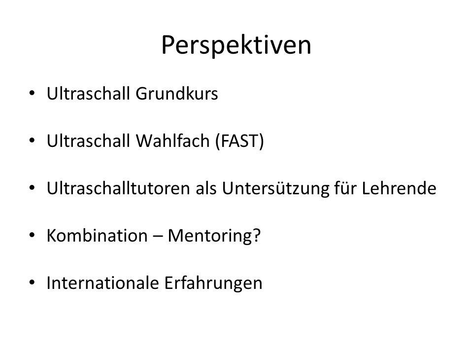 Perspektiven Ultraschall Grundkurs Ultraschall Wahlfach (FAST) Ultraschalltutoren als Untersützung für Lehrende Kombination – Mentoring? International