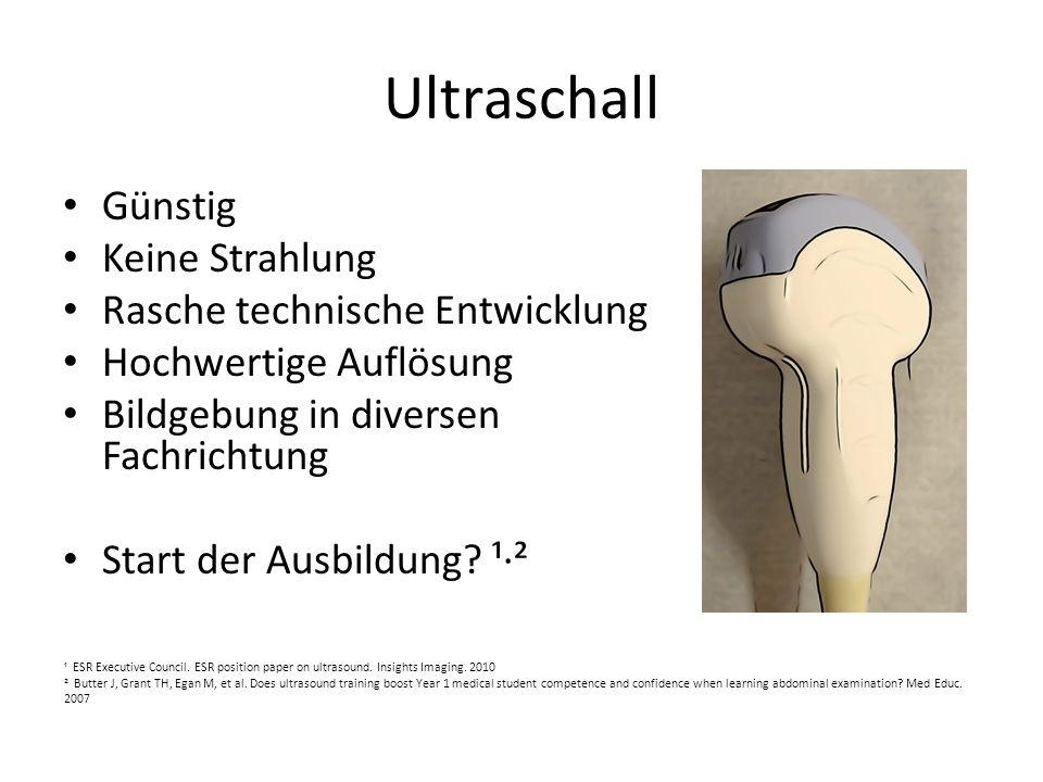 Ultraschall Günstig Keine Strahlung Rasche technische Entwicklung Hochwertige Auflösung Bildgebung in diversen Fachrichtung Start der Ausbildung? ¹² ¹
