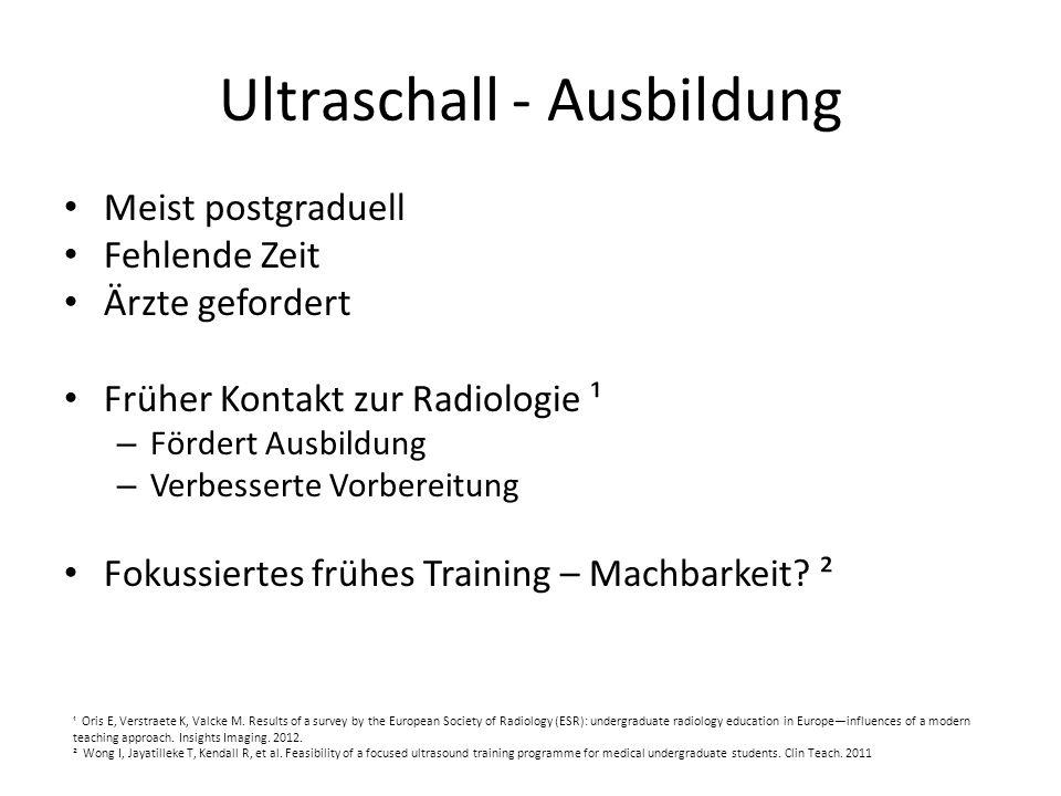 Ultraschall - Ausbildung Meist postgraduell Fehlende Zeit Ärzte gefordert Früher Kontakt zur Radiologie ¹ – Fördert Ausbildung – Verbesserte Vorbereit