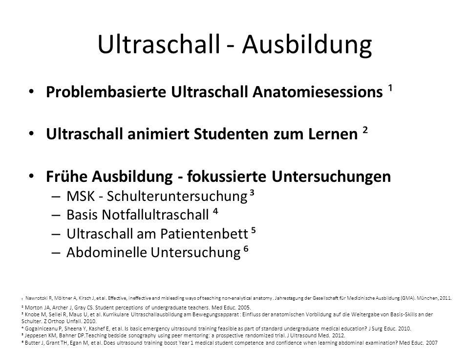 Ultraschall - Ausbildung Problembasierte Ultraschall Anatomiesessions ¹ Ultraschall animiert Studenten zum Lernen ² Frühe Ausbildung - fokussierte Unt