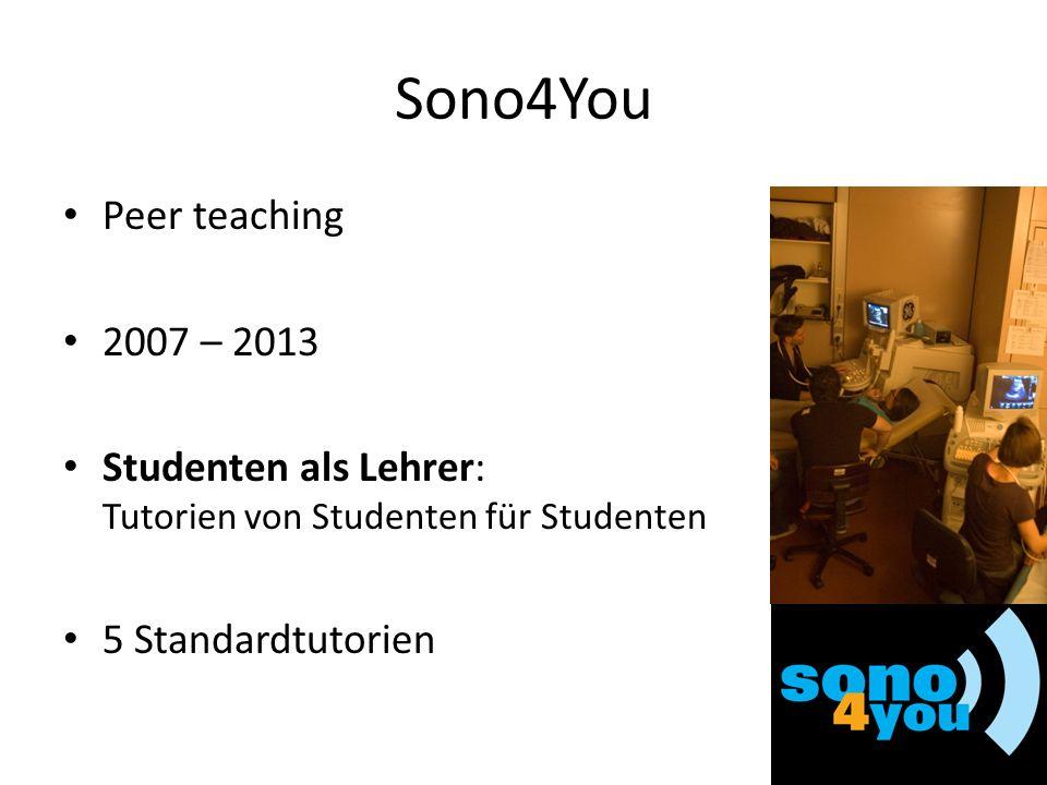 Sono4You Peer teaching 2007 – 2013 Studenten als Lehrer: Tutorien von Studenten für Studenten 5 Standardtutorien