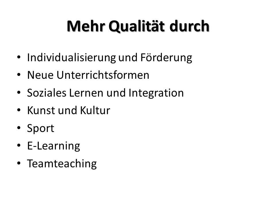 Mehr Qualität durch Individualisierung und Förderung Neue Unterrichtsformen Soziales Lernen und Integration Kunst und Kultur Sport E-Learning Teamteac