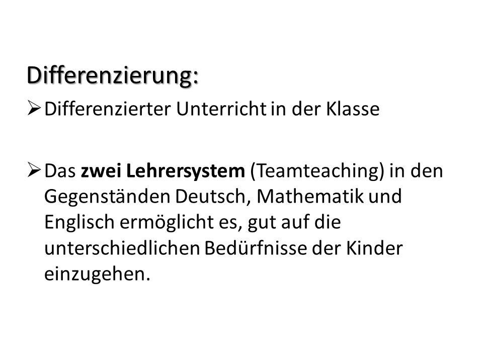 Differenzierung: Differenzierter Unterricht in der Klasse Das zwei Lehrersystem (Teamteaching) in den Gegenständen Deutsch, Mathematik und Englisch er