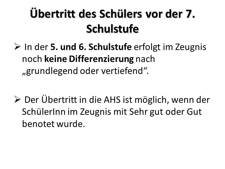 Übertritt in eine höhere oder mittlere Schule Übertritt in die höhere Schule: Bei Beurteilung in Deutsch, Englisch und Mathematik in der Vertiefung.